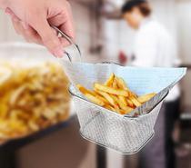 Cesta Inox Para Servir Fritas Fritura Porções Frango Alça - Nova