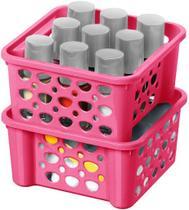 Cesta Organizadora Empilhável De Plástico 2 Unidades 746ml Rosa Pequena Resistente Porta Trecos Linha Casar Sanremo -