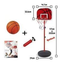 Cesta Tabela Basquete Radical Kit Pedestal Ajustável c/Bola + Bomba - Dm Toys