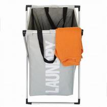 Cesto com tampa lavanderia organizador de roupas suja cromado para banheiro cinza kangur - Makeda