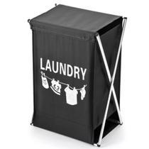 Cesto com tampa lavanderia organizador de roupas suja cromado para banheiro preto kangur -