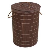 Cesto de Bambu Ripado Acasa Móveis Marrom -