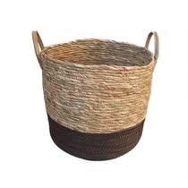 Cesto De Fibra Natural Seagrass Redondo com Fundo Marrom E Alca De Couro G - Enjoy