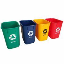 Cesto de Lixo Coleta Seletiva 4 Unidades Acrimet -