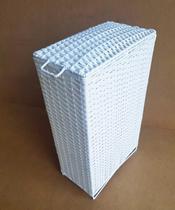 Cesto de Roupa de Ferro e Fibra Sintética 50 Litros 21x40x67 Branco - Artesanato Com Fibra