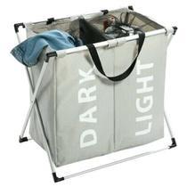 Cesto de roupa suja duplo cromado organizador roupeiro para lavanderia quarto e banheiro cinza kangur -