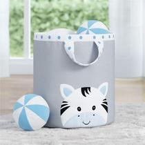 Cesto Organizador Brinquedos Zebra Azul 24cm Grão de Gente -