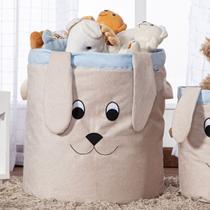 Cesto Organizador de Brinquedos e Roupas Grande com Alça Suede Cachorro Azul e Bege - Mais Que Baby