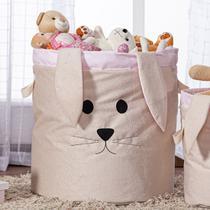 Cesto Organizador de Brinquedos e Roupas Grande com Alça Suede Coelha Rosa e Bege - Mais Que Baby