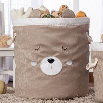 Cesto Organizador de Brinquedos e Roupas Grande com Alça Suede Urso  Branco e Bege - Mais Que Baby