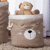 Cesto Organizador de Brinquedos e Roupas Médio com Alça Suede Urso Branco e Bege - Mais Que Baby