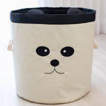 Cesto Organizador de Brinquedos e Roupas Sujas Grande Panda com Alças - Mais Que Baby