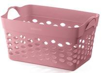 Cesto Organizador De Plástico Sanremo Capacidade 22Litros Resistente Vazado Rosa Alças Laterais Lavanderia Organização G -