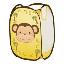 Cesto Organizador De Roupa Suja Cobertor Dobrável Infantil Macaquinho - Art House