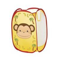 Cesto Organizador Porta Treco Infantil Dobrável Portátil Brinquedos Sapatos Roupas  - Macaco - Art Brink