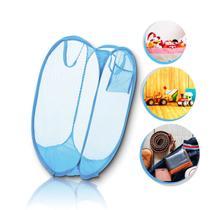 Cesto Organizador Roupa Suja Brinquedos Dobrável Azul Telado Prático Lavanderia - 123 Útil