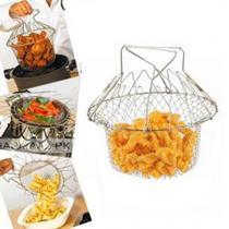 Cesto para frituras 12 em 1 fritadeira escorredor cozimento a vapor fruteira articulavel em inox - Makeda