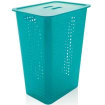 Cesto Para Roupas Organizador Lavanderia 47 Litros Plástico Azul -