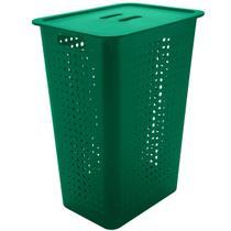 Cesto Para Roupas Organizador Lavanderia 47 Litros Plástico Verde Botânico -