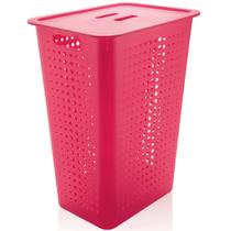 Cesto Para Roupas Suja para Banheiro 47 Litros Plástico Rosa Pink -
