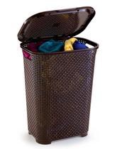 Cesto telado retangular para roupas com tampa e alça 30 litros 38x29,5x50cm - Monte Libano