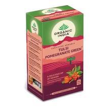 Chá Tulsi Pomegranate Green, Romã Hibisco, 25 sachês, Organic India -