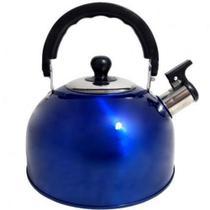 Chaleira Aço Inox alça térmica 2 litros com tampa e apito - 123 Util