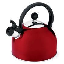 Chaleira Com Apito 2L Vermelha Aço Inoxidável Mundial -