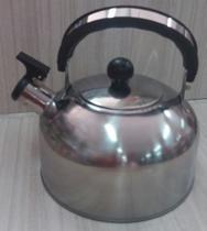 Chaleira com apito aço inox prateada 2 L - Útil123
