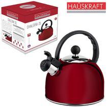 Chaleira de inox com apito vermelha hauskraft 2l na caixa -