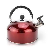 Chaleira inox 1,5 litros vermelha com apito - Clink