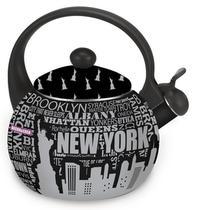 Chaleira Preta Decorada New York  Multi Fogão 2,2 Litros - D&C