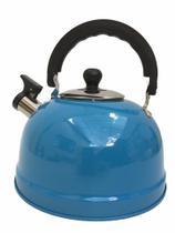 Chaleira Wellmix Em Aço Inox 2,5 Litros Com apito Azul -