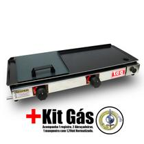 Chapa Gás Lanche Hamburguer 2 Bocas 30x70 Com Abafador Prensa E-2.6 LCG + Kit Gás -