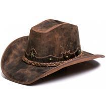 1d81bd2464 Chapéu Country Americano Cowboy Rustico Couro Nobre - Ljaco