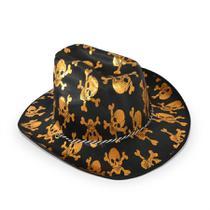 Chapéu Cowboy Caveira Dourado Halloween - festabox