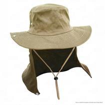 Chapéu de Pesca Safari Jogá com Protetor Solar Nucal E Cinta Fixadora de Pescoço Cor Caqui -