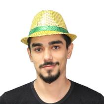 Chapéu Malandro Paetê Copa 2018 Amarelo e Verde - Aluá festas