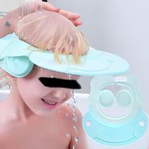 Chapéu Para Banho Silicone Viseira Anti Shampoo Protetor Olhos Ouvidos Bebê Infantil Aguard Baby - Azul -