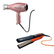 Chapinha Taiff Titanium Colors + Secador Fox 3 Rose 110V