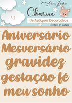 Charme de Apliques Decorativos MDF Baby Palavras - Scrap By Antonio