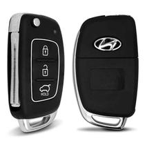 Chave Canivete Hyundai HB20 2012 2013 2014 2015 2016 2017 2018 3 Botões Preto Para Alarme Automotivo - D.s.