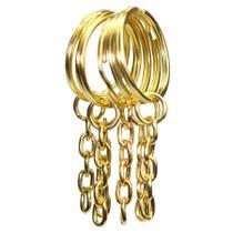 Chaveiro Argola Batida Dourado Metalizado 100un 23mm -