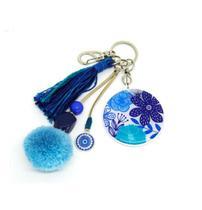 Chaveiro Floral Azul e Branco - Ea