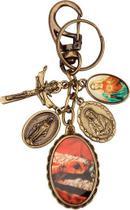 Chaveiro mãos ensanguentadas de jesus com medalhas - Armazem