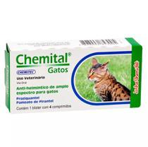 Chemital Anti-Helmético de Amplo Espectro Para Gatos - 4 Comprimidos - Chemitec