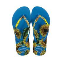 Chinelo feminino havaianas girassóis azul e amarelo 4141852 -