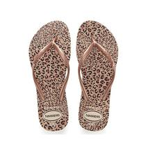 Chinelo havaianas slim animals bege palha e rose