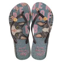 Chinelo Rafitthy Be Forever Cat Dog Jeans Feminino