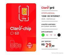 Chip Claro Pré Pago Mensal com Recarga 12GB - Confira os DDD's -